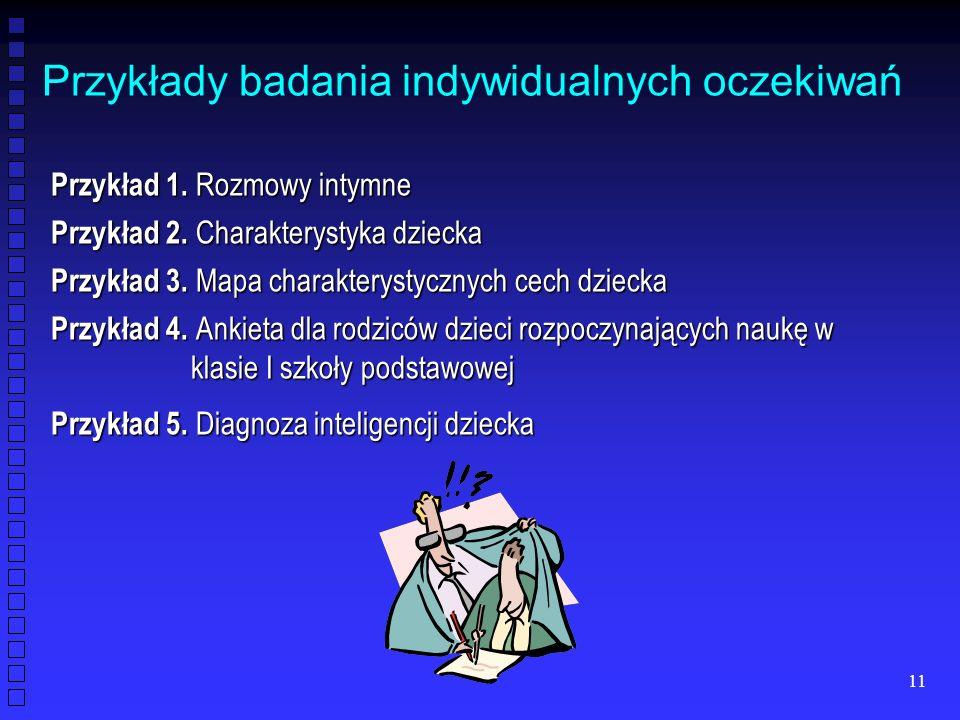 11 Przykłady badania indywidualnych oczekiwań Przykład 1. Rozmowy intymne Przykład 2. Charakterystyka dziecka Przykład 3. Mapa charakterystycznych cec