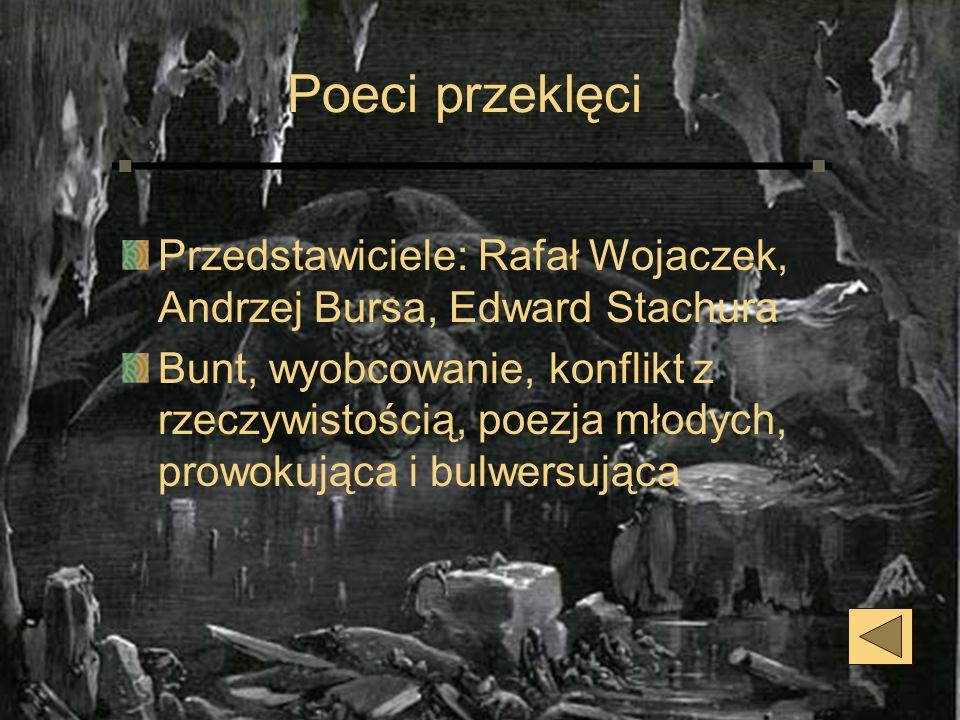 Poeci przeklęci Przedstawiciele: Rafał Wojaczek, Andrzej Bursa, Edward Stachura Bunt, wyobcowanie, konflikt z rzeczywistością, poezja młodych, prowoku