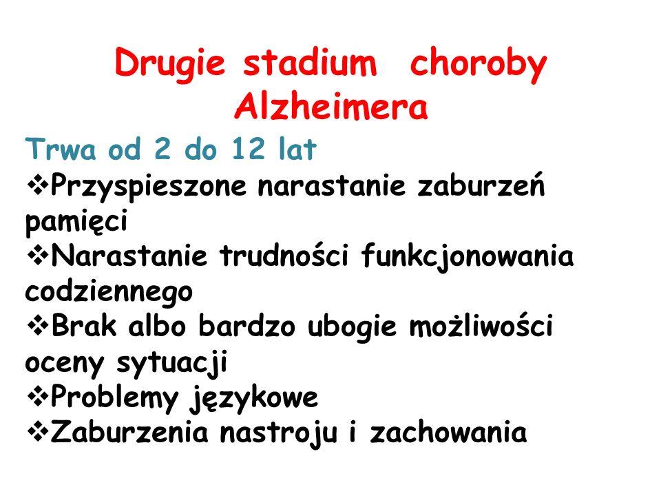 Drugie stadium choroby Alzheimera Trwa od 2 do 12 lat Przyspieszone narastanie zaburzeń pamięci Narastanie trudności funkcjonowania codziennego Brak albo bardzo ubogie możliwości oceny sytuacji Problemy językowe Zaburzenia nastroju i zachowania
