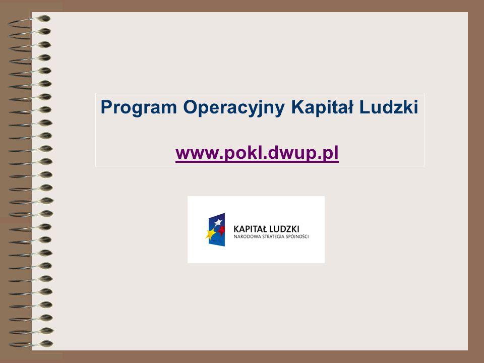 Program Operacyjny Kapitał Ludzki www.pokl.dwup.pl