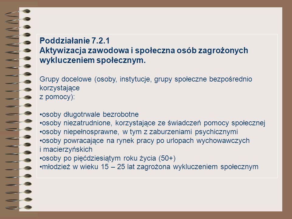 Poddziałanie 7.2.1 Aktywizacja zawodowa i społeczna osób zagrożonych wykluczeniem społecznym. Grupy docelowe (osoby, instytucje, grupy społeczne bezpo
