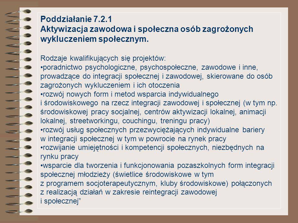 Poddziałanie 7.2.1 Aktywizacja zawodowa i społeczna osób zagrożonych wykluczeniem społecznym. Rodzaje kwalifikujących się projektów: poradnictwo psych