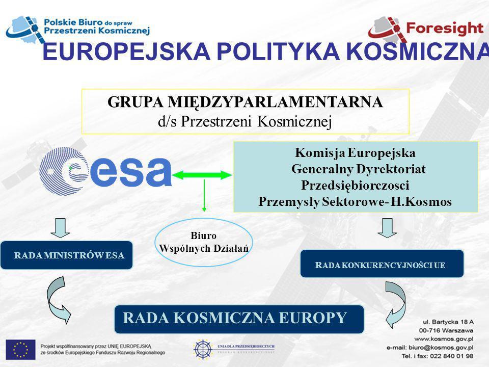 EUROPEJSKA POLITYKA KOSMICZNA GRUPA MIĘDZYPARLAMENTARNA d/s Przestrzeni Kosmicznej Komisja Europejska Generalny Dyrektoriat Przedsiębiorczosci Przemys