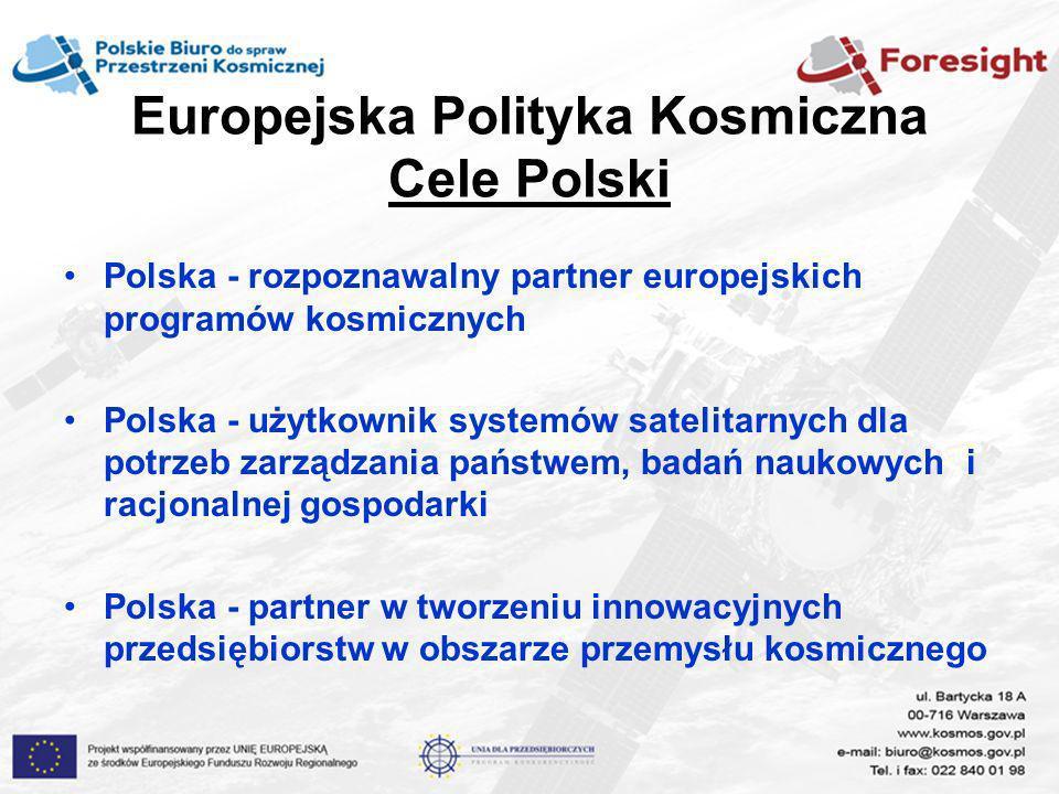 Europejska Polityka Kosmiczna Cele Polski Polska - rozpoznawalny partner europejskich programów kosmicznych Polska - użytkownik systemów satelitarnych