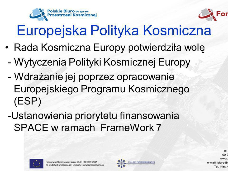 Europejska Polityka Kosmiczna Rada Kosmiczna Europy potwierdziła wolę - Wytyczenia Polityki Kosmicznej Europy - Wdrażanie jej poprzez opracowanie Euro