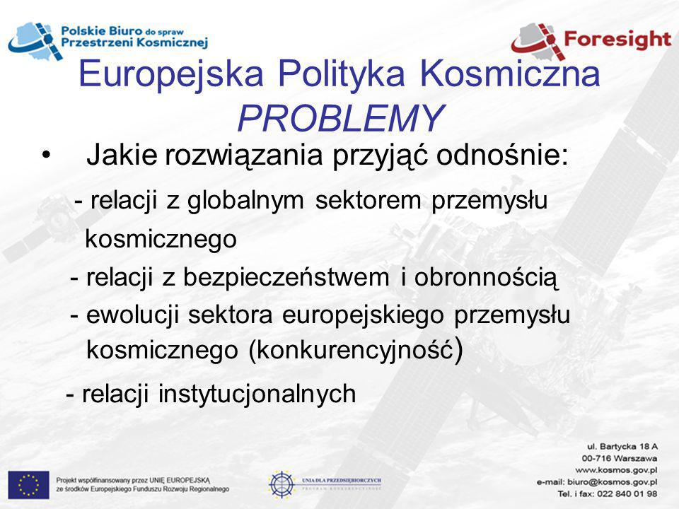 Europejska Polityka Kosmiczna PROBLEMY Jakie rozwiązania przyjąć odnośnie: - relacji z globalnym sektorem przemysłu kosmicznego - relacji z bezpieczeń