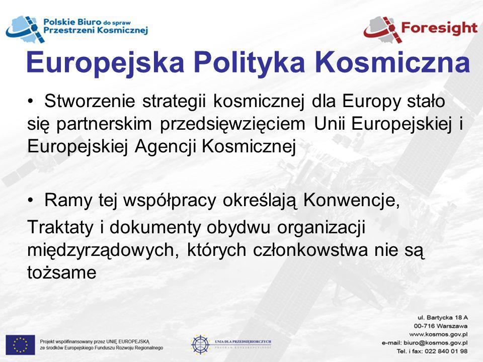 Europejska Polityka Kosmiczna Stworzenie strategii kosmicznej dla Europy stało się partnerskim przedsięwzięciem Unii Europejskiej i Europejskiej Agenc