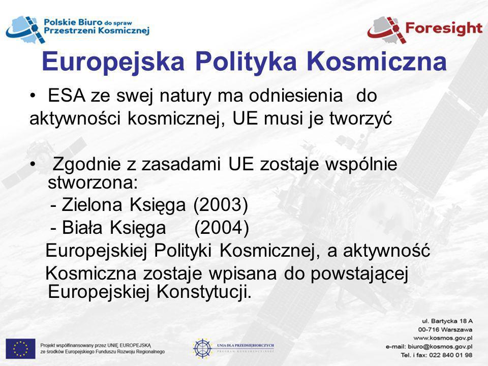 Europejska Polityka Kosmiczna ESA ze swej natury ma odniesienia do aktywności kosmicznej, UE musi je tworzyć Zgodnie z zasadami UE zostaje wspólnie st