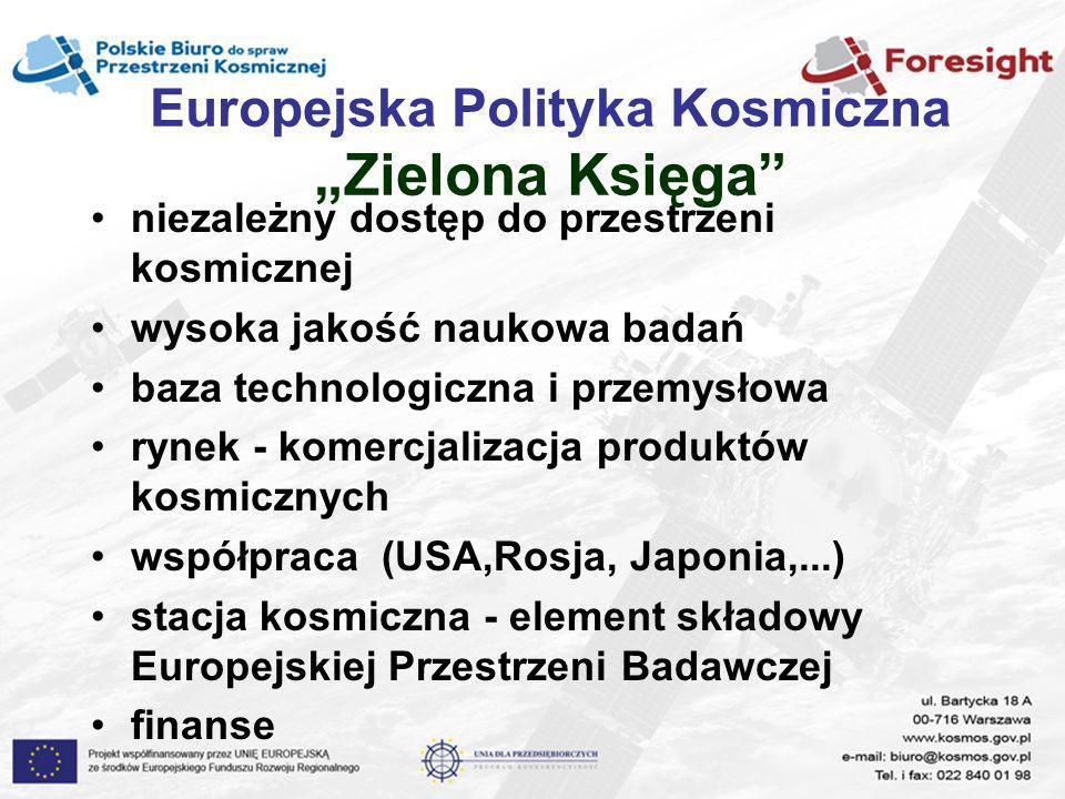 Europejska Polityka Kosmiczna Zielona Księga niezależny dostęp do przestrzeni kosmicznej wysoka jakość naukowa badań baza technologiczna i przemysłowa