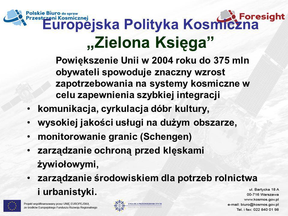 Europejska Polityka Kosmiczna Zielona Księga Powiększenie Unii w 2004 roku do 375 mln obywateli spowoduje znaczny wzrost zapotrzebowania na systemy ko