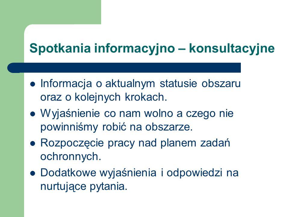 Spotkania informacyjno – konsultacyjne Informacja o aktualnym statusie obszaru oraz o kolejnych krokach. Wyjaśnienie co nam wolno a czego nie powinniś