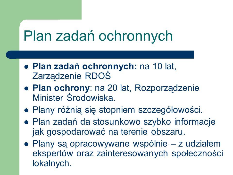 Plan zadań ochronnych Plan zadań ochronnych: na 10 lat, Zarządzenie RDOŚ Plan ochrony: na 20 lat, Rozporządzenie Minister Środowiska. Plany różnią się