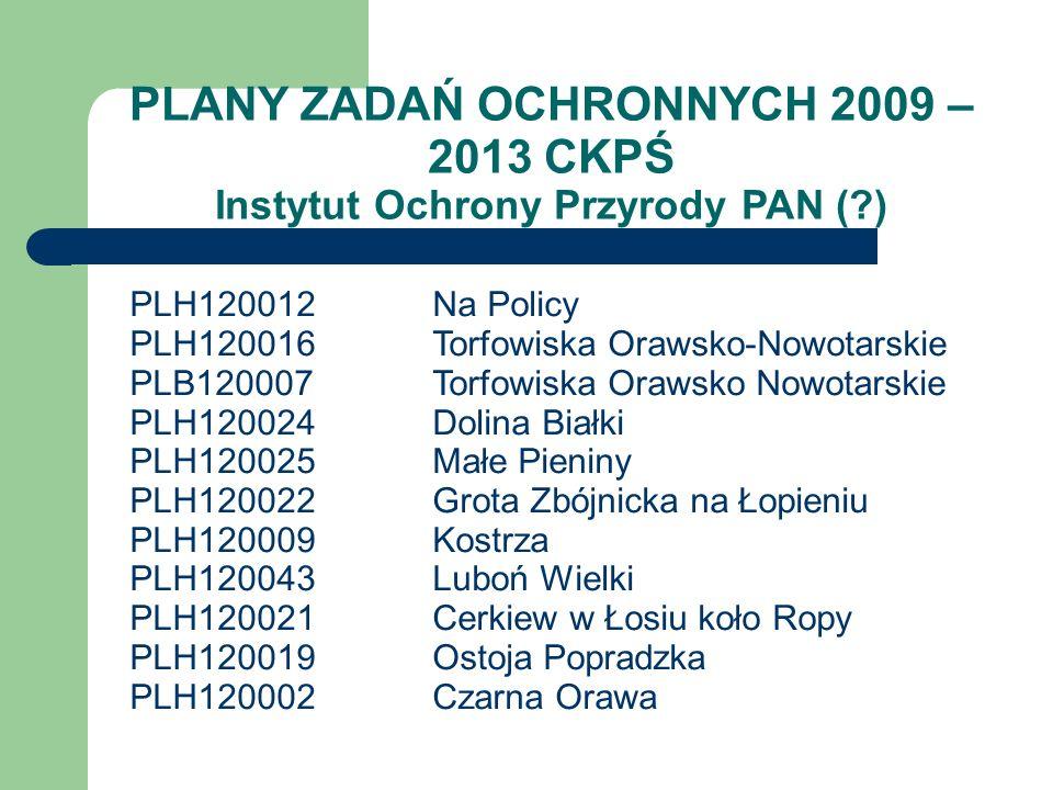 PLANY ZADAŃ OCHRONNYCH 2009 – 2013 CKPŚ Instytut Ochrony Przyrody PAN (?) PLH120012Na Policy PLH120016Torfowiska Orawsko-Nowotarskie PLB120007Torfowis