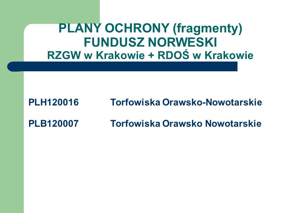 PLANY OCHRONY (fragmenty) FUNDUSZ NORWESKI RZGW w Krakowie + RDOŚ w Krakowie PLH120016Torfowiska Orawsko-Nowotarskie PLB120007Torfowiska Orawsko Nowot