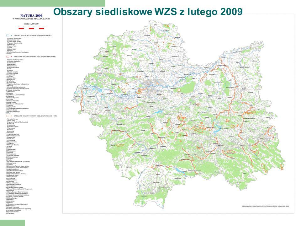 Obszary siedliskowe WZS z lutego 2009