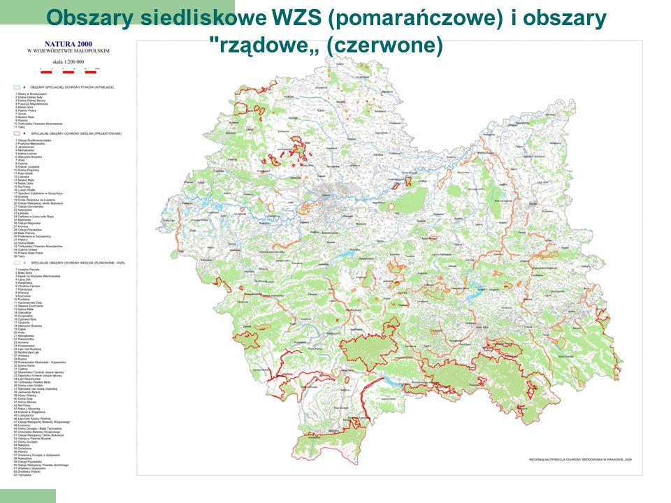 Obszary siedliskowe WZS (pomarańczowe) i obszary rządowe (czerwone)