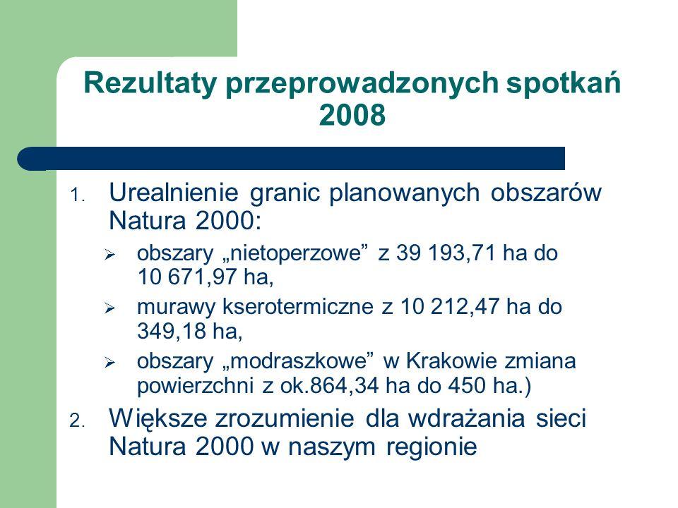 Rezultaty przeprowadzonych spotkań 2008 1. Urealnienie granic planowanych obszarów Natura 2000: obszary nietoperzowe z 39 193,71 ha do 10 671,97 ha, m