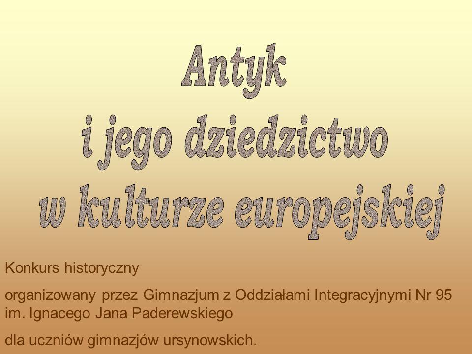 Konkurs historyczny organizowany przez Gimnazjum z Oddziałami Integracyjnymi Nr 95 im. Ignacego Jana Paderewskiego dla uczniów gimnazjów ursynowskich.