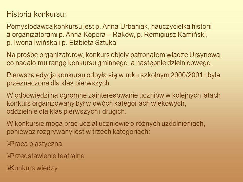 Historia konkursu: Pomysłodawcą konkursu jest p. Anna Urbaniak, nauczycielka historii a organizatorami p. Anna Kopera – Rakow, p. Remigiusz Kamiński,
