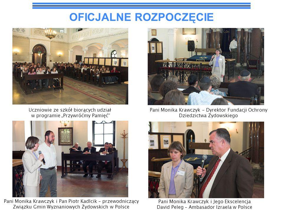 OFICJALNE ROZPOCZĘCIE Pani Monika Krawczyk - Dyrektor Fundacji Ochrony Dziedzictwa Żydowskiego Uczniowie ze szkół biorących udział w programie Przywró