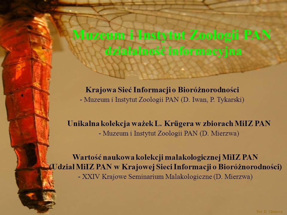 Muzeum i Instytut Zoologii PAN działalność informacyjna Wartość naukowa kolekcji malakologicznej MiIZ PAN (Udział MiIZ PAN w Krajowej Sieci Informacji
