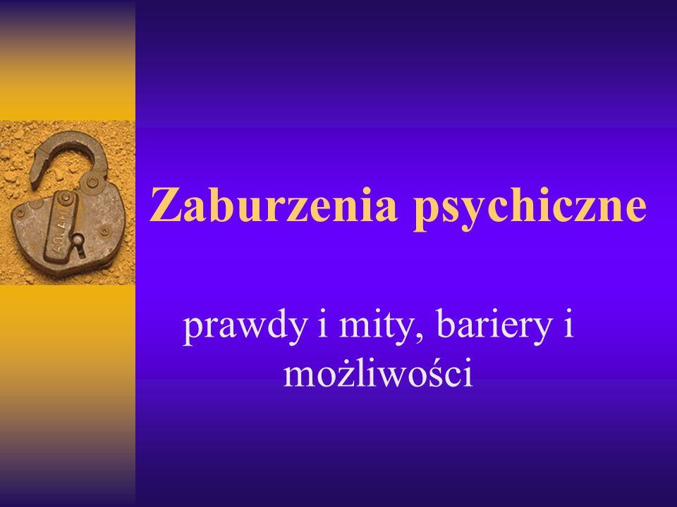 Zaburzenia psychiczne prawdy i mity, bariery i możliwości