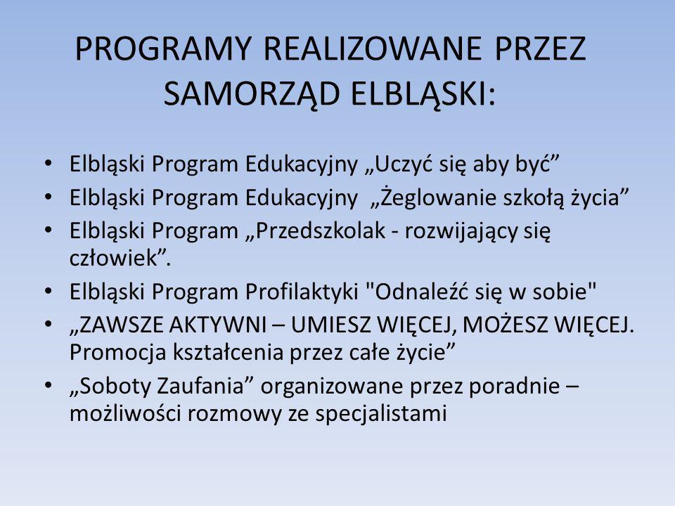 PROGRAMY REALIZOWANE PRZEZ SAMORZĄD ELBLĄSKI: Elbląski Program Edukacyjny Uczyć się aby być Elbląski Program Edukacyjny Żeglowanie szkołą życia Elbląs