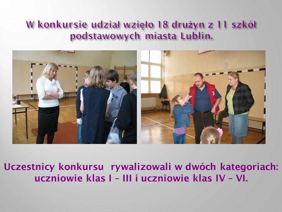 Uczestnicy konkursu rywalizowali w dwóch kategoriach: uczniowie klas I – III i uczniowie klas IV – VI.