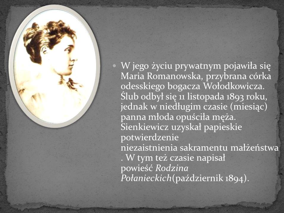 W jego życiu prywatnym pojawiła się Maria Romanowska, przybrana córka odesskiego bogacza Wołodkowicza. Ślub odbył się 11 listopada 1893 roku, jednak w