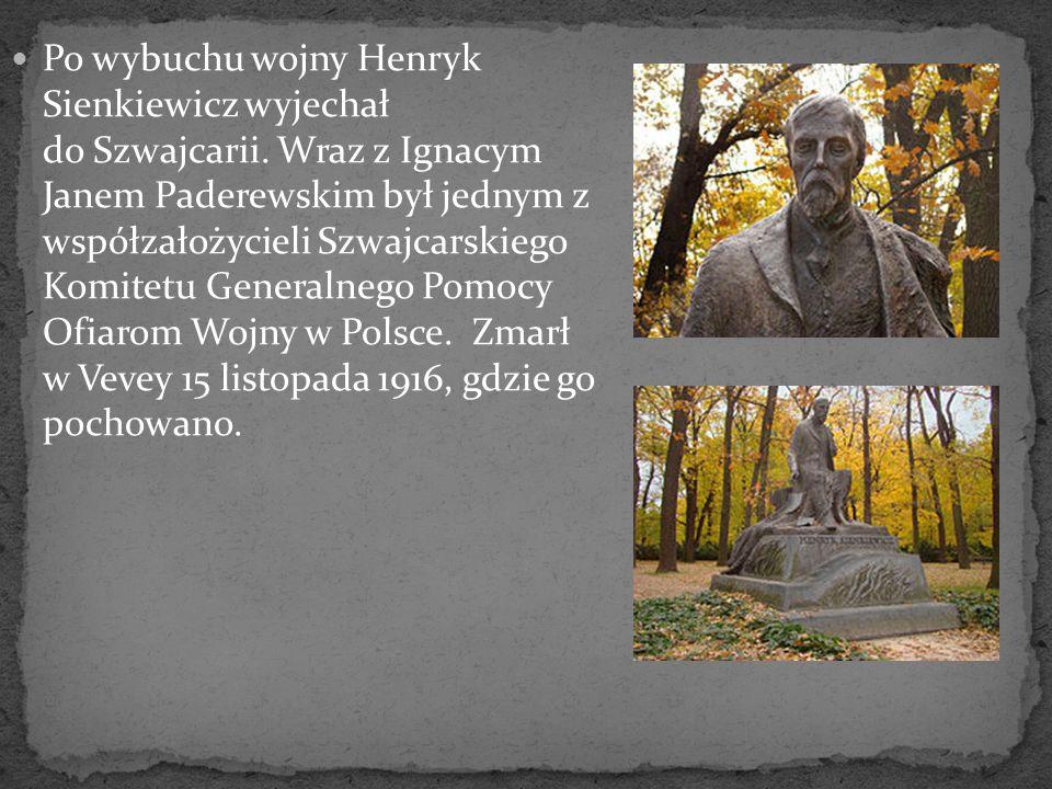 Po wybuchu wojny Henryk Sienkiewicz wyjechał do Szwajcarii. Wraz z Ignacym Janem Paderewskim był jednym z współzałożycieli Szwajcarskiego Komitetu Gen