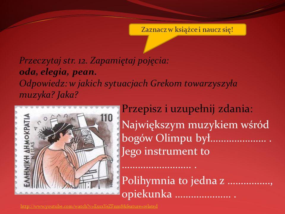 Wyszukaj w książce nazwy instrumentów greckich i rzymskich.