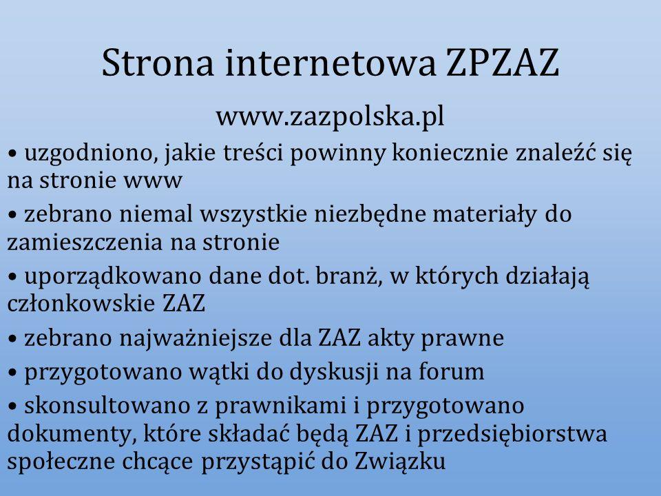 Strona internetowa ZPZAZ www.zazpolska.pl uzgodniono, jakie treści powinny koniecznie znaleźć się na stronie www zebrano niemal wszystkie niezbędne ma