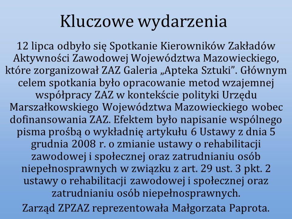 Kluczowe wydarzenia 12 lipca odbyło się Spotkanie Kierowników Zakładów Aktywności Zawodowej Województwa Mazowieckiego, które zorganizował ZAZ Galeria