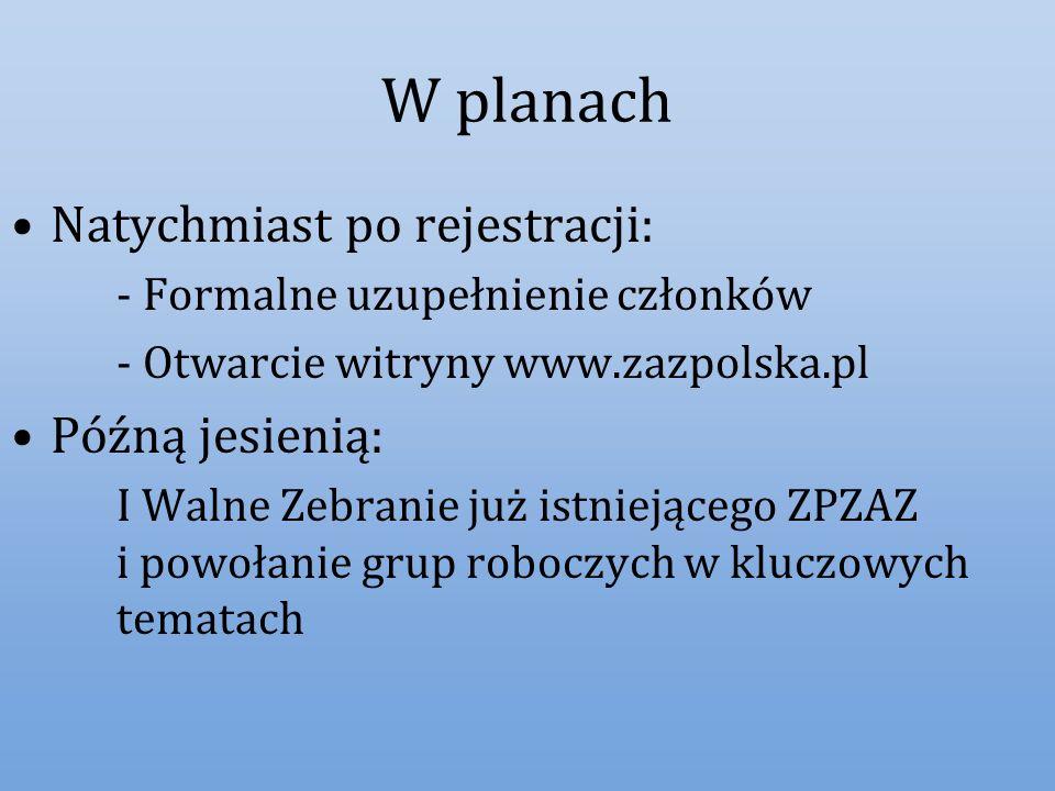 W planach Natychmiast po rejestracji: -Formalne uzupełnienie członków -Otwarcie witryny www.zazpolska.pl Późną jesienią: I Walne Zebranie już istnieją