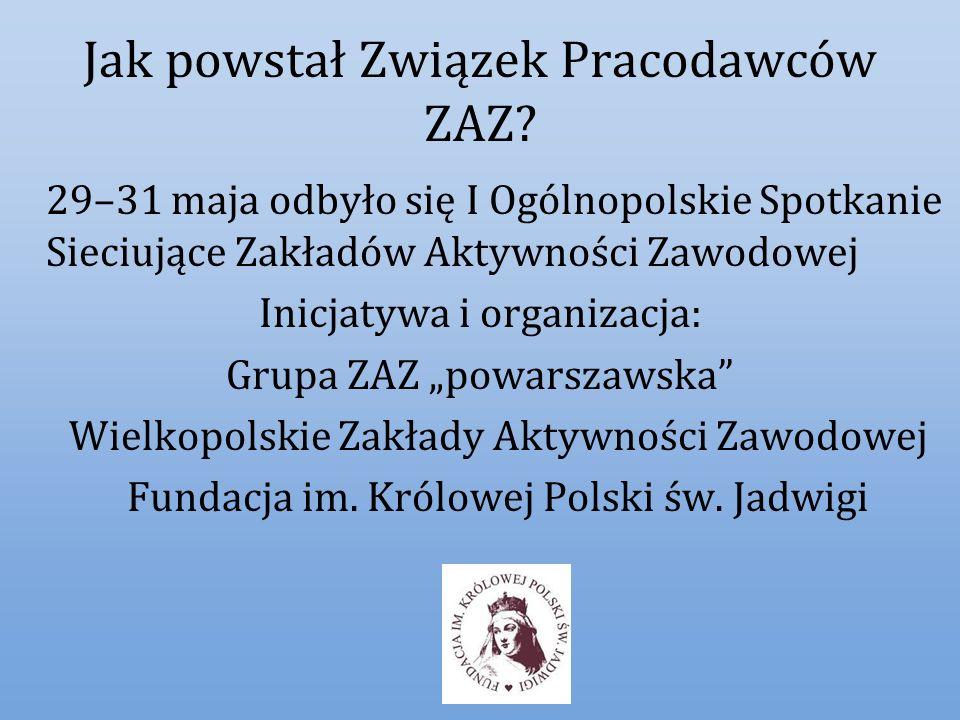 Dziękuję za uwagę Zapraszamy do współpracy Ogólnopolski Związek Pracodawców Zakładów Aktywności Zawodowej i innych Przedsiębiorstw Społecznych z siedzibą w Puszczykowie k/Poznania tomasz@jadwiga.org