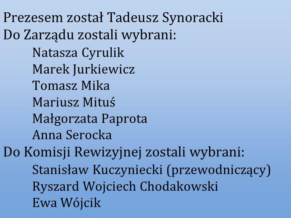Prezesem został Tadeusz Synoracki Do Zarządu zostali wybrani: Natasza Cyrulik Marek Jurkiewicz Tomasz Mika Mariusz Mituś Małgorzata Paprota Anna Seroc
