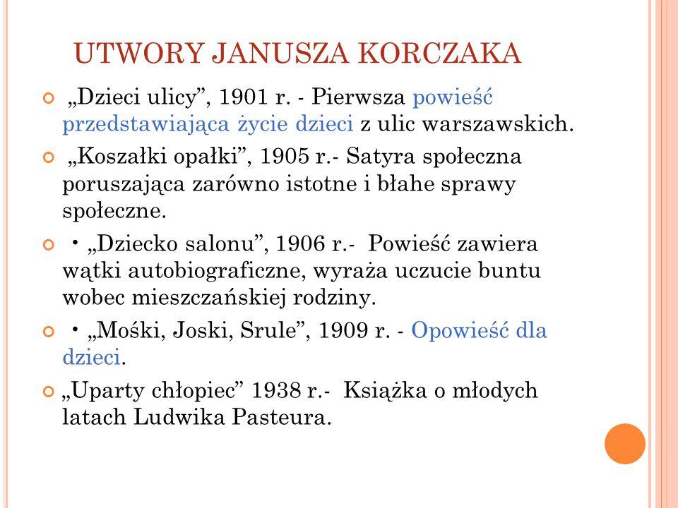 UTWORY JANUSZA KORCZAKA Dzieci ulicy, 1901 r. - Pierwsza powieść przedstawiająca życie dzieci z ulic warszawskich. Koszałki opałki, 1905 r.- Satyra sp