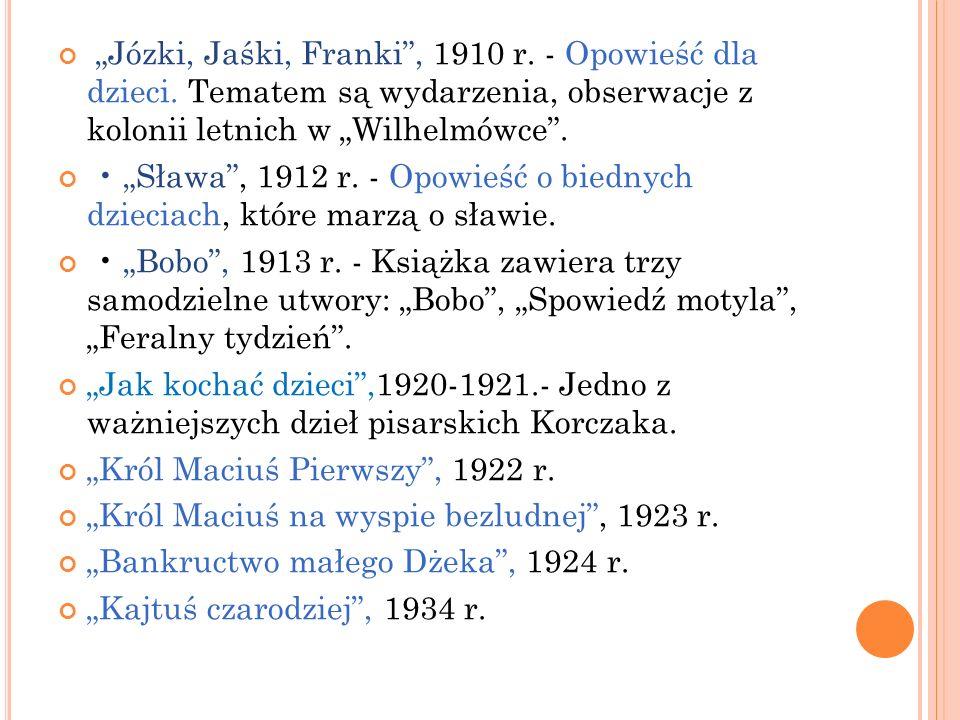 Józki, Jaśki, Franki, 1910 r. - Opowieść dla dzieci. Tematem są wydarzenia, obserwacje z kolonii letnich w Wilhelmówce. Sława, 1912 r. - Opowieść o bi
