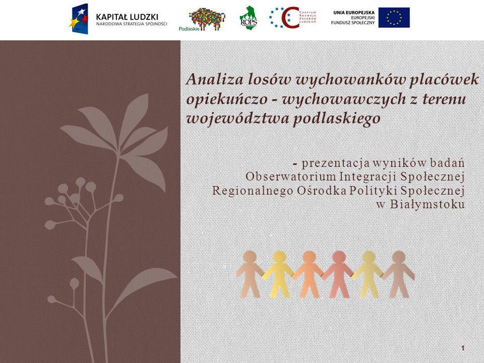 - prezentacja wyników badań Obserwatorium Integracji Społecznej Regionalnego Ośrodka Polityki Społecznej w Białymstoku Analiza losów wychowanków placó