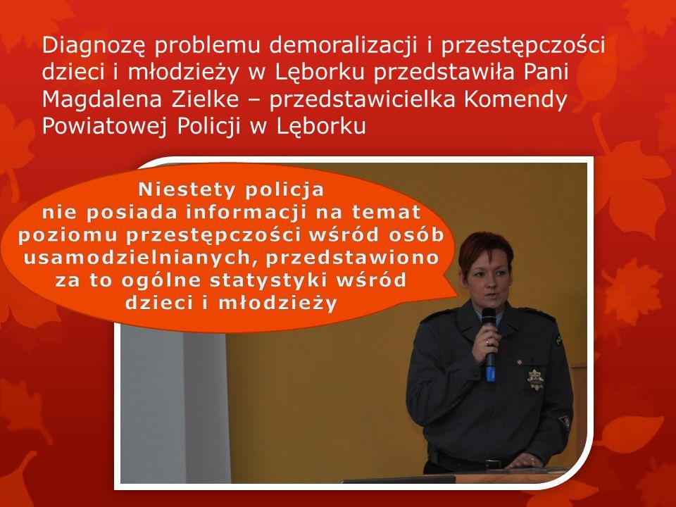Diagnozę problemu demoralizacji i przestępczości dzieci i młodzieży w Lęborku przedstawiła Pani Magdalena Zielke – przedstawicielka Komendy Powiatowej