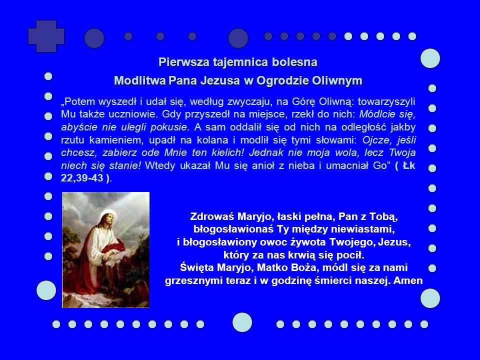 Zdrowaś Maryjo, łaski pełna, Pan z Tobą, błogosławionaś Ty między niewiastami, i błogosławiony owoc żywota Twojego, Jezus, który za nas krwią się poci