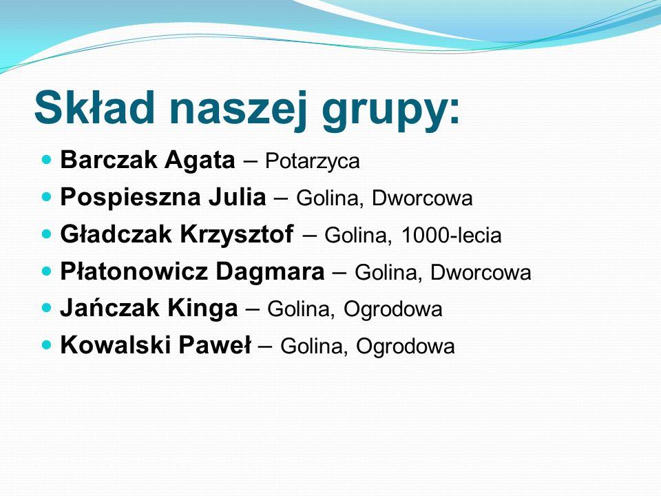 Skład naszej grupy: Barczak Agata – Potarzyca Pospieszna Julia – Golina, Dworcowa Gładczak Krzysztof – Golina, 1000-lecia Płatonowicz Dagmara – Golina