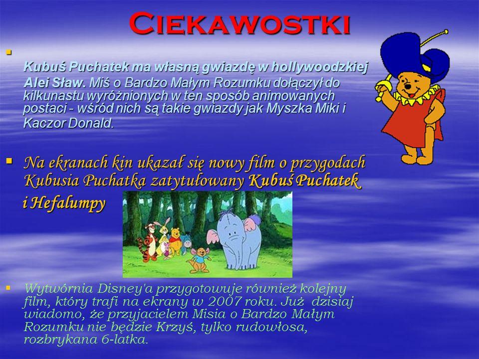 Ciekawostki Kubuś Puchatek ma własną gwiazdę w hollywoodzkiej Kubuś Puchatek ma własną gwiazdę w hollywoodzkiej Alei Sław. Miś o Bardzo Małym Rozumku
