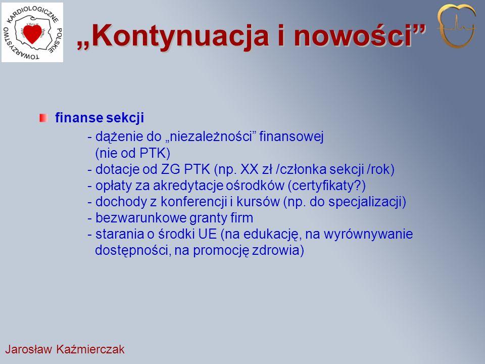 Kontynuacja i nowości finanse sekcji - dążenie do niezależności finansowej (nie od PTK) - dotacje od ZG PTK (np.