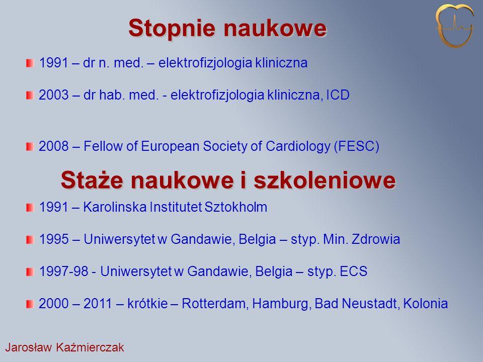 Stopnie naukowe 1991 – dr n.med. – elektrofizjologia kliniczna 2003 – dr hab.