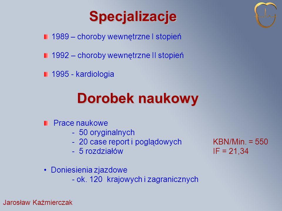 Specjalizacje 1989 – choroby wewnętrzne I stopień 1992 – choroby wewnętrzne II stopień 1995 - kardiologia Dorobek naukowy Prace naukowe -50 oryginalnych -20 case report i poglądowych KBN/Min.