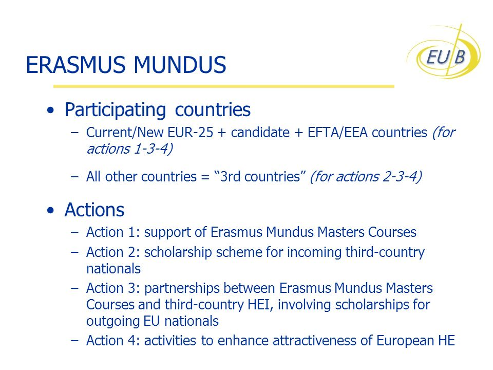 ERASMUS MUNDUS Participating countries –Current/New EUR-25 + candidate + EFTA/EEA countries (for actions 1-3-4) –All other countries = 3rd countries (