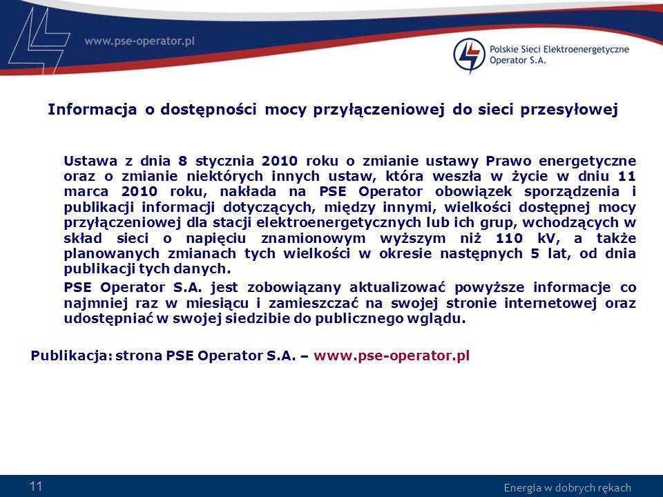 Energia w dobrych rękach 11 Informacja o dostępności mocy przyłączeniowej do sieci przesyłowej Ustawa z dnia 8 stycznia 2010 roku o zmianie ustawy Pra