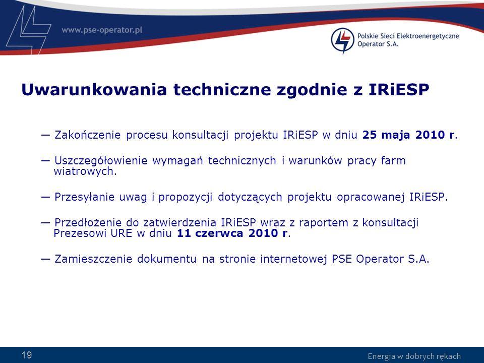 Energia w dobrych rękach 19 Uwarunkowania techniczne zgodnie z IRiESP Zakończenie procesu konsultacji projektu IRiESP w dniu 25 maja 2010 r. Uszczegół