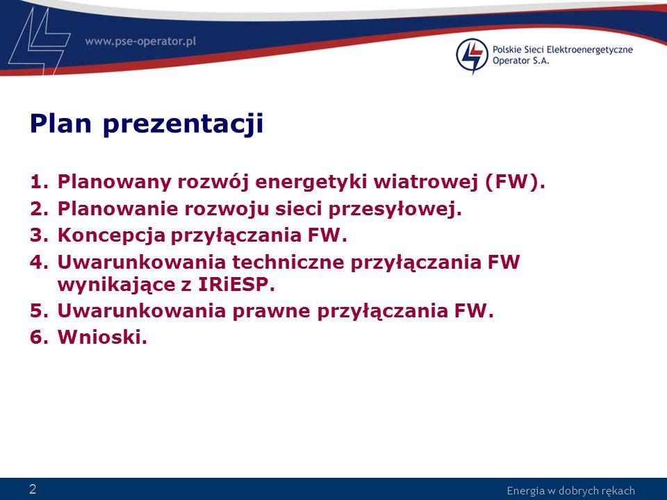 Energia w dobrych rękach 2 Plan prezentacji 1.Planowany rozwój energetyki wiatrowej (FW). 2.Planowanie rozwoju sieci przesyłowej. 3.Koncepcja przyłącz